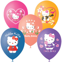 "M 12""/30см Пастель+Декоратор (шелк) 1 ст. 3 цв. рис Hello Kitty 25 шт"